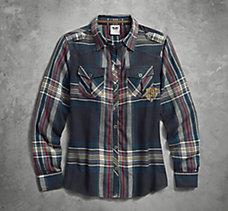 Textured Gauze & Plaid Shirt