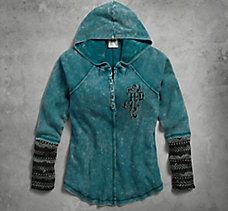 Jacquard Accent Hooded Henley