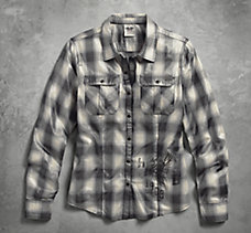 Metallic Coated Plaid Shirt
