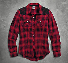 Lace Accent Plaid Shirt