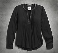 Grommet Neckline Crepe Shirt