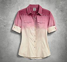 Roll-Tab Sleeve Dip-Dyed Shirt