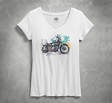 Watercolor Motorcycle V-Neck Tee