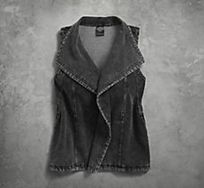 Denim Look Knit Biker Vest
