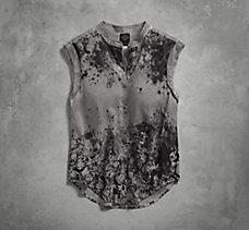 Skull Print Sleeveless Shirt