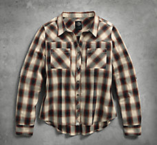 Open Neck Plaid Shirt