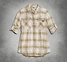 Chain Accent Plaid Shirt