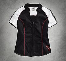 Bandana Print Zip-Front Shirt