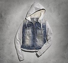 Hooded Two-Fer Denim Jacket