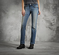 Boot Cut Low-Rise Chain Accent J...