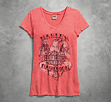 Eagle & Rose V-Neck Tee