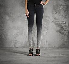 Dip-Dye Skinny Mid-Rise Jeans