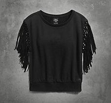 Fringe Sleeve Pullover