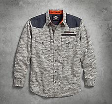 Contrast Yoke Camouflage Shirt