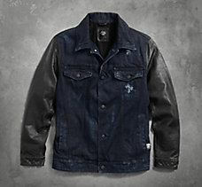 Leather Sleeve Denim Jacket