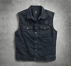 Coated Black Denim Vest