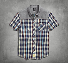 Contrast Yoke Plaid Shirt