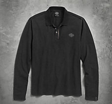 Zipper Accent Long Sleeve Polo