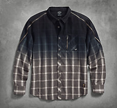 Zipper Accent Plaid Shirt