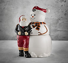 Biker Santa & Snowman Cookie Jar