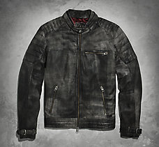Distressed Lambskin Leather Jack...