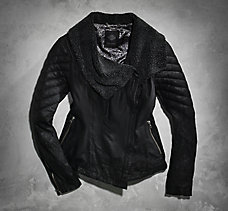 Sherpa Fleece Accented Leather J...