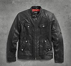 Buckle Collar Leather Jacket