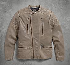 Asymmetric Zip Leather Jacket