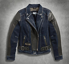Vix Denim & Leather Riding Jacke...