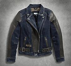 Vix Denim & Leather Riding Jacke...