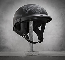 Skull Flame Sun Shield Half Helm...