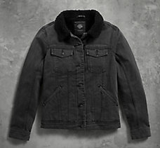 Sherpa Fleece Collar Denim Jacke...