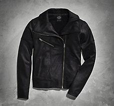 Coated Ponte Biker Jacket