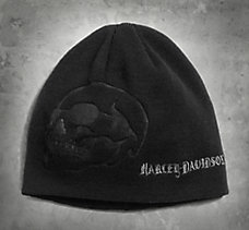 Debossed Skull Knit Hat