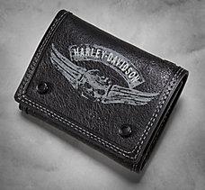 Winged Skull Tri-Fold Wallet