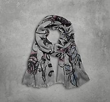 Rose & Skull Woven Scarf