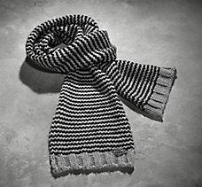 Textured Stripe Knit Scarf