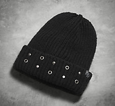 Grommet Cuffed Knit Hat