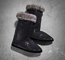 Black Sequin Slipper Boot