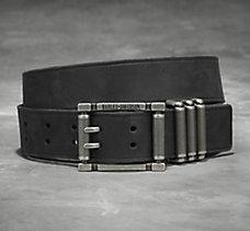 Textured Keeper Leather Belt