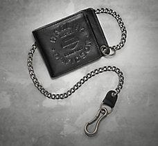 Debossed Bi-Fold Biker Wallet