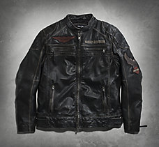 Annex Distressed Leather Jacket