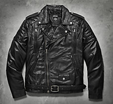 #1 Skull Patch Leather Biker Jac...