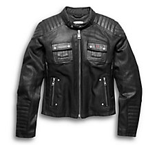 Quilted Coated Denim Riding Jack...