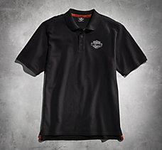 Black Short Sleeve Knit Polo Shi...