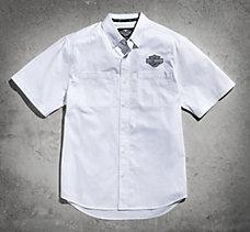 White Short Sleeve Logo Woven Sh...