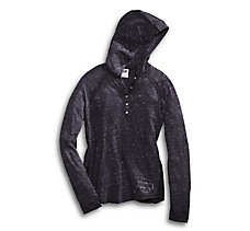 Lace Accent Hooded Henley