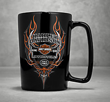 Pinstripe Flames Ceramic Mug