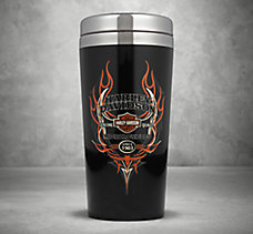Pinstripe Flames Travel Mug