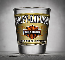 Bar & Shield Flames Shot Glass